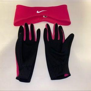 Nike headband & gloves Black/Pink/Reflective Gray